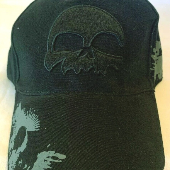 Vintage Other - Biker Baseball Cap Black Skull Black Embroidered